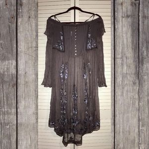 NWT Free People Sheer Embroidered Tunic Grey